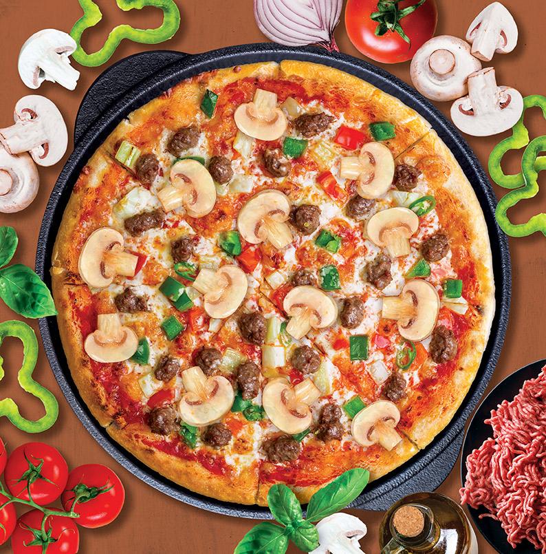 Seasoned Ground Veal & Mushroom Pizza