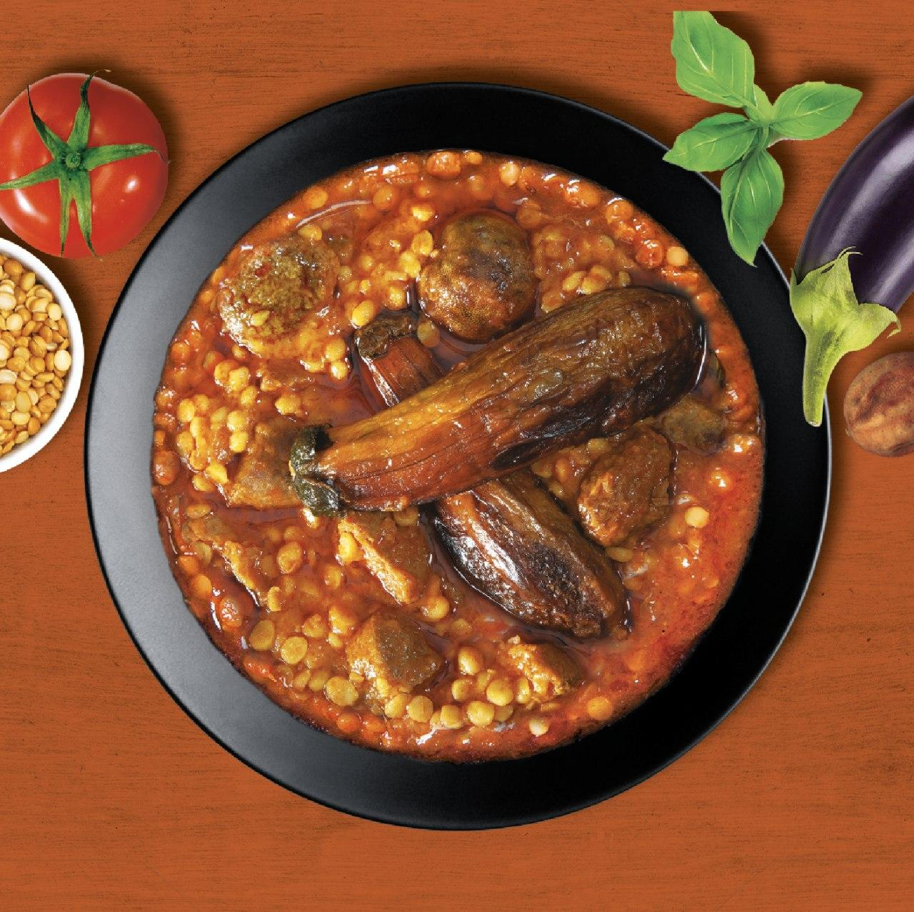 Eggplant Yellow Split Pea Stew with Meat