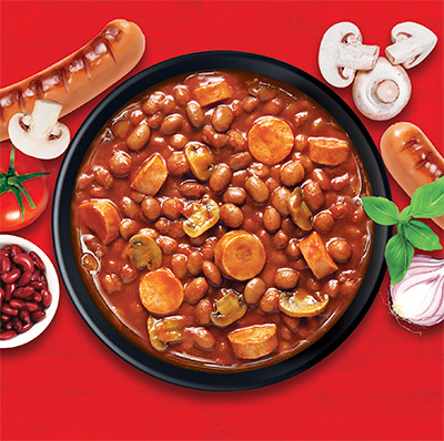 Baked Beans With Franks & Mushrooms